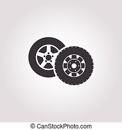 wheel car icon on white background for web