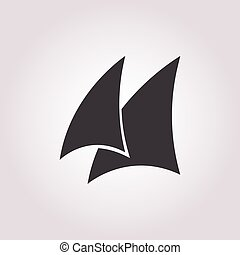 sail icon on white background for web
