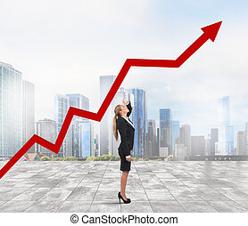 Businesswoman and success uphill - Businesswoman see arrow...