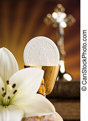 Holy Communion Bread, Wine for christianity religion -...