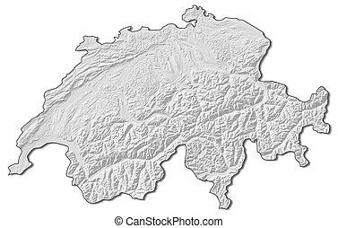 Relief map - Swizerland - 3D-Rendering