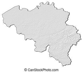 Relief map - Belgium - 3D-Rendering