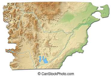 Relief map - Chubut (Argentina) - 3D-Rendering