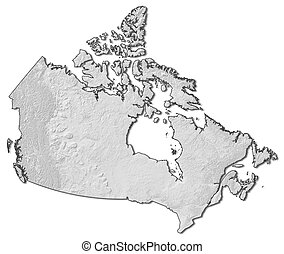 Relief map - Canada - 3D-Rendering