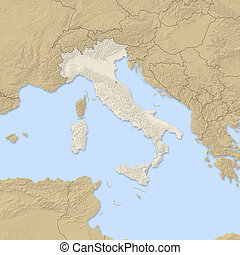 Relief map - Italy - 3D-Rendering - Relief map of Italy and...