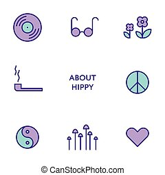 Set of flat line hippy icons. Modern pictograms