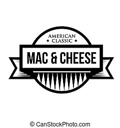 Mac and Cheese - Macaroni - American classic vintage stamp...