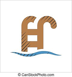 staircase into water icon on white background