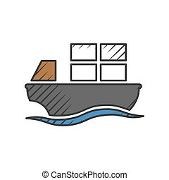 barge  icon on white background for web