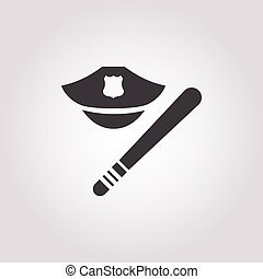 police baton and cap icon on white background for web