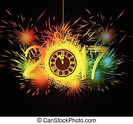 Happy New Year clock and Fireworks
