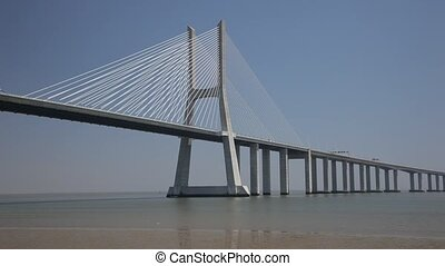 Vasco da Gama bridge in Lisbon - Vasco da Gama bridge in...