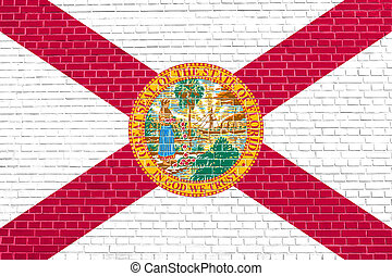 Flag of Florida on brick wall texture background