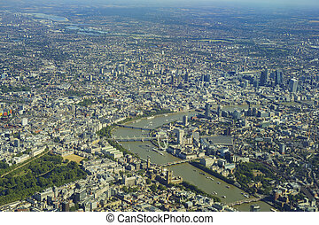 Aerial view of London - Aerial view of St James's Park,...