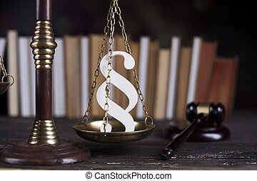Paragraph, law theme, mallet of judge, wooden gavel - Wooden...