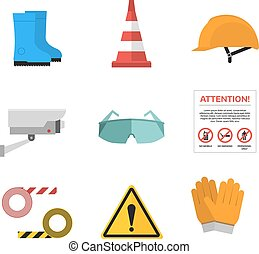 Safety work vector icons flat style - Safety work icons flat...