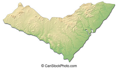 Relief map - Alagoas (Brazil) - 3D-Rendering