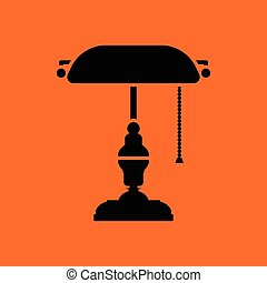 Writer's lamp icon. Orange background with black. Vector...