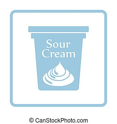 Sour cream icon. Blue frame design. Vector illustration.