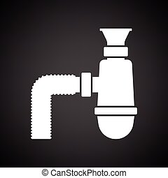 Bathroom siphon icon. Black background with white. Vector...