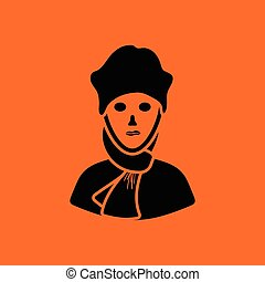 Poet icon. Orange background with black. Vector...