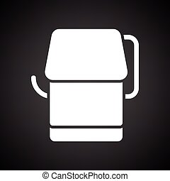 Toilet paper icon. Black background with white. Vector...