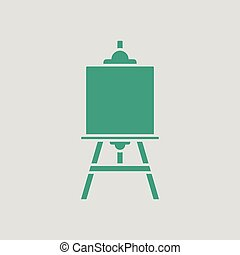 Easel icon. Gray background with green. Vector illustration.