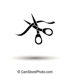 Ceremony ribbon cut icon. White background with shadow...