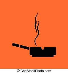 Cigarette in an ashtray icon. Orange background with black....