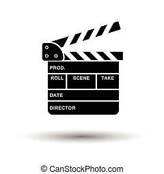 Movie clap board icon. White background with shadow design....
