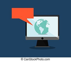 digital messaging related icons image - computer with...
