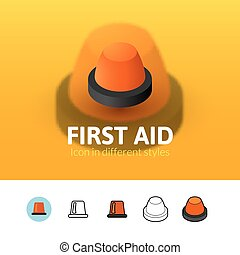 First aid icon in different style - First aid color icon,...