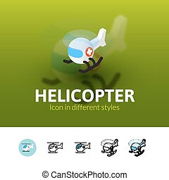 Helicopter icon in different style - Helicopter color icon,...