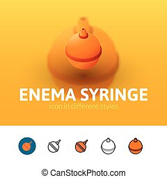 Enema syringe icon in different style - Enema syringe color...