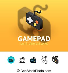 Gamepad icon in different style - Gamepad color icon, vector...
