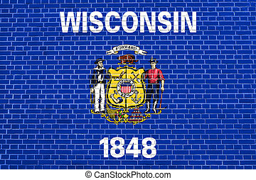 Flag of Wisconsin on brick wall texture background -...