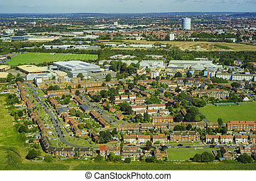 Aerial view of London - Aerial view of Heston, Norwood...