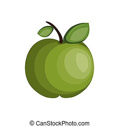apple fruit food - green apple fruit with leaves. healthy...