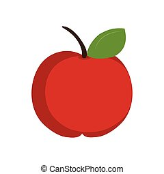 apple fruit food - red apple fruit with green leaf. healthy...