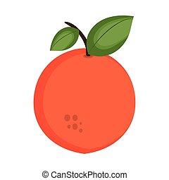 orange fruit food - orange fruit with green leaf. healthy...