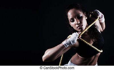 female fitness body - wet Toned female fitness body holding...