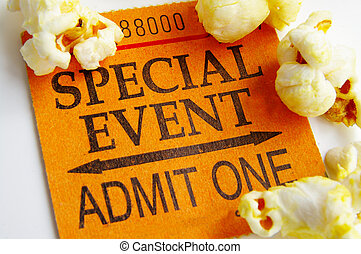 """special event\"" ticket stub and popcorn closeup"