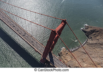 Aerial View Above the Golden Gate Bridge - Aerial view above...