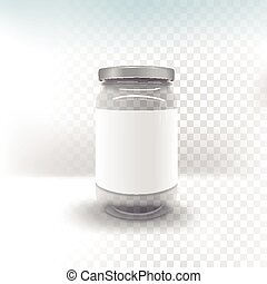 empty glass jar isolated on transparent background