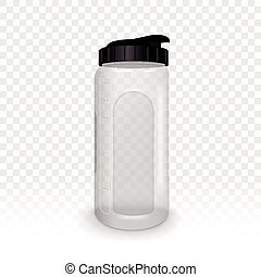 reusable water bottle isolated on transparent background, 3D...