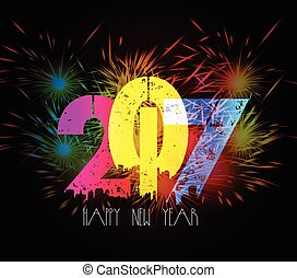 Happy New Year Fireworks colorful
