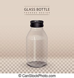 exquisite glass bottle without label isolated on transparent...