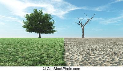 Verdant landscape or dry landscape - Landscape with half of...