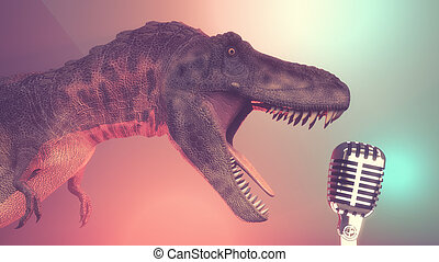 Dinosaur with a microphone old