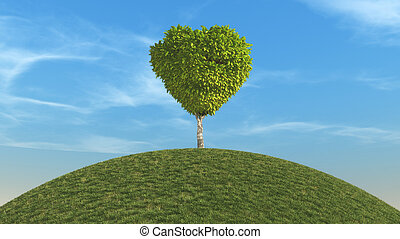 Spring landscape - Landscape with a tree shaped as a heart....